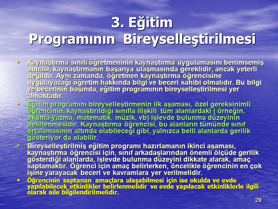 3. Eğitim Programının Bireyselleştirilmesi