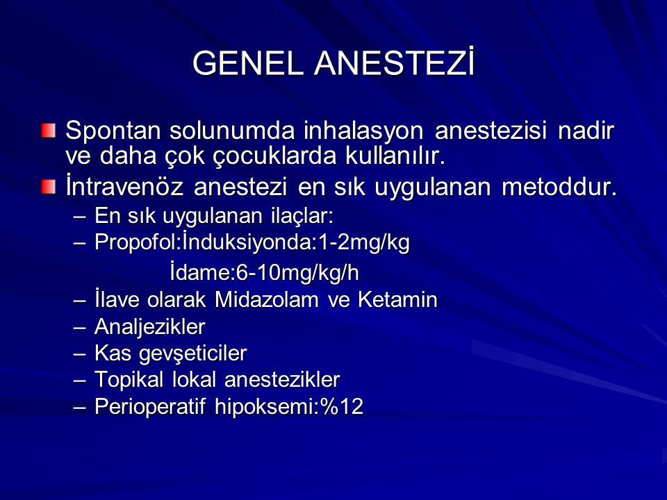 GENEL ANESTEZİ Spontan solunumda inhalasyon anestezisi nadir ve daha çok çocuklarda kullanılır. İntravenöz anestezi en sık uygulanan metoddur.