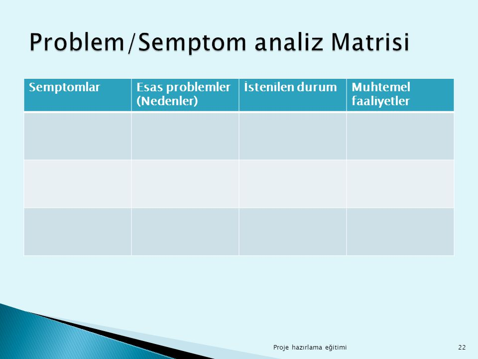Problem/Semptom analiz Matrisi