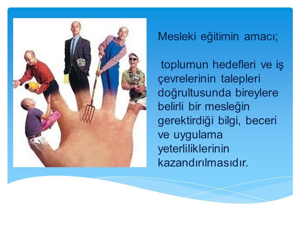 Mesleki eğitimin amacı; toplumun hedefleri ve iş çevrelerinin talepleri doğrultusunda bireylere belirli bir mesleğin gerektirdiği bilgi, beceri ve uygulama yeterliliklerinin kazandırılmasıdır.