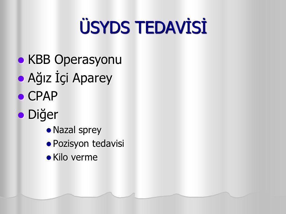 ÜSYDS TEDAVİSİ KBB Operasyonu Ağız İçi Aparey CPAP Diğer Nazal sprey