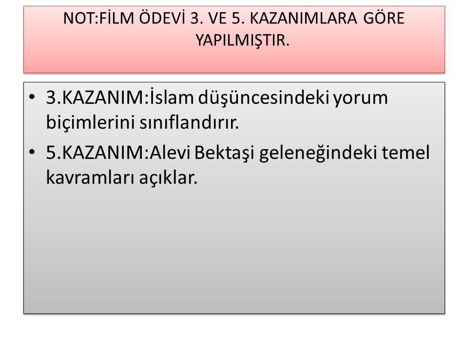 NOT:FİLM ÖDEVİ 3. VE 5. KAZANIMLARA GÖRE YAPILMIŞTIR.