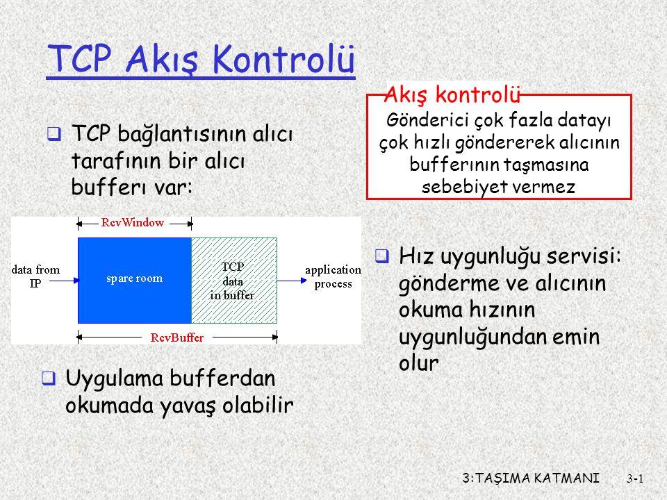 TCP Akış Kontrolü Akış kontrolü