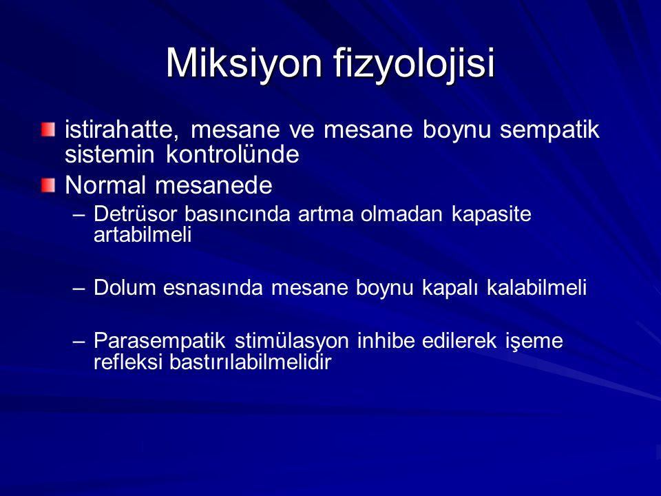 Miksiyon fizyolojisi istirahatte, mesane ve mesane boynu sempatik sistemin kontrolünde. Normal mesanede.