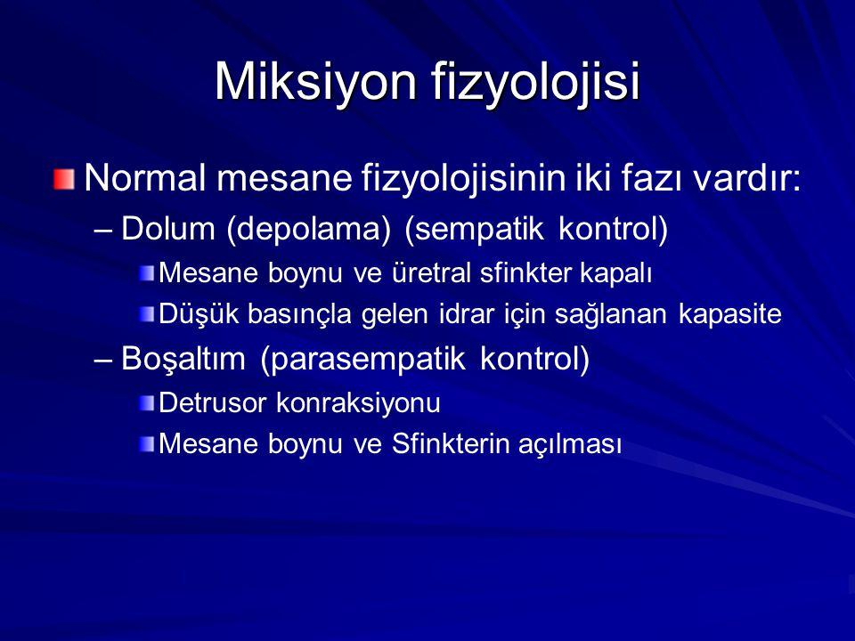 Miksiyon fizyolojisi Normal mesane fizyolojisinin iki fazı vardır: