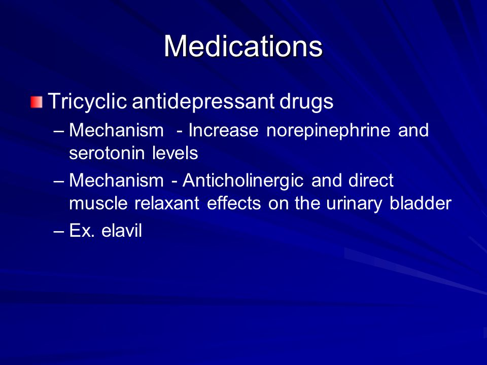 Medications Tricyclic antidepressant drugs