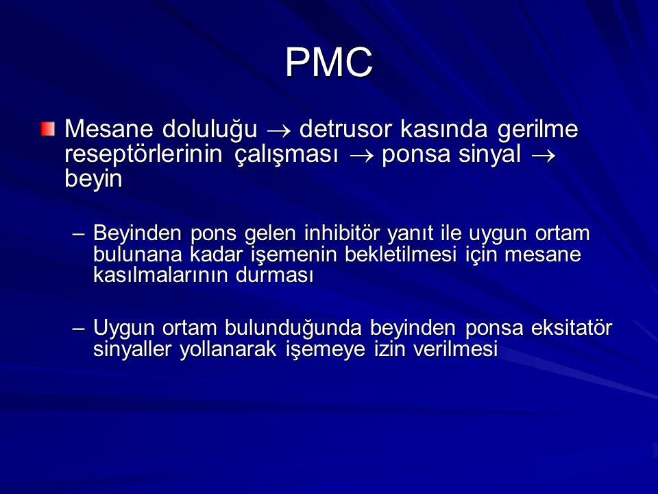 PMC Mesane doluluğu  detrusor kasında gerilme reseptörlerinin çalışması  ponsa sinyal  beyin.