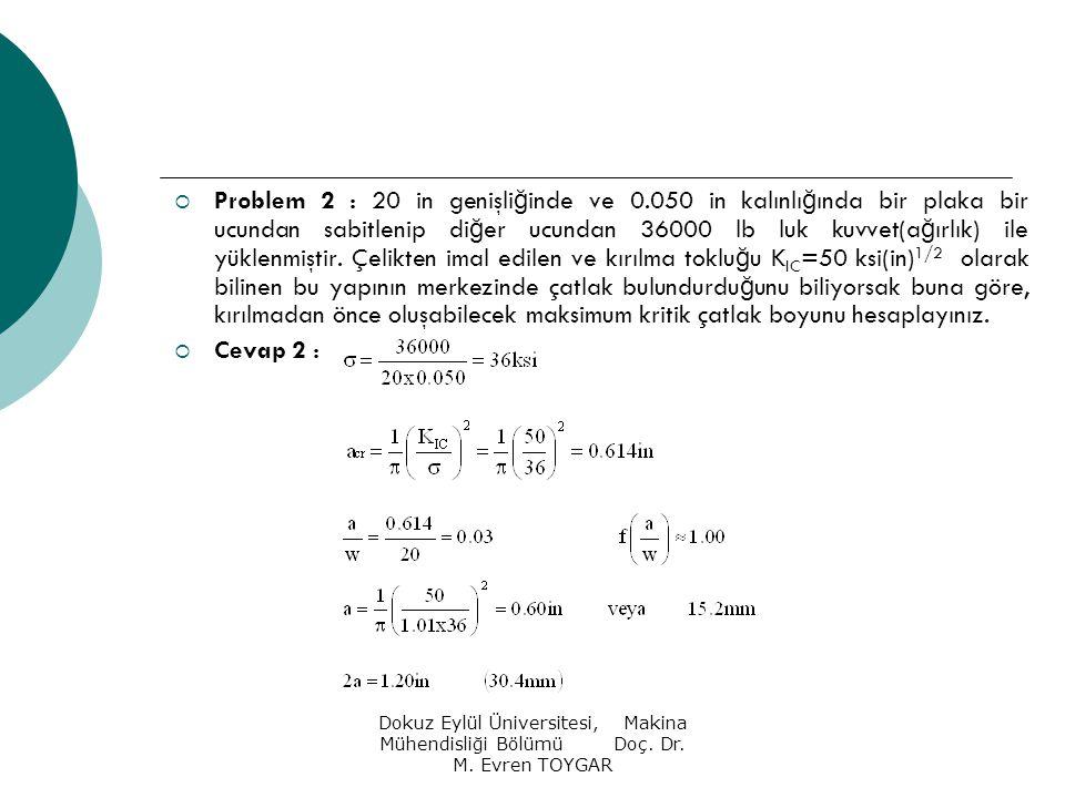 Problem 2 : 20 in genişliğinde ve 0