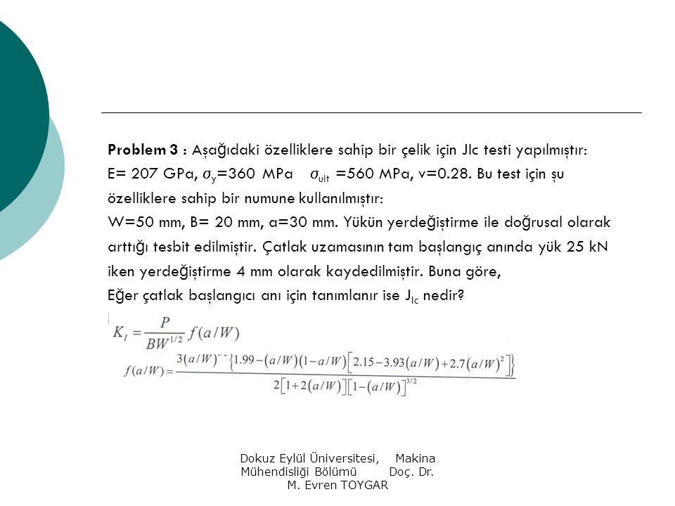 E= 207 GPa, y=360 MPa ult =560 MPa, v=0.28. Bu test için şu