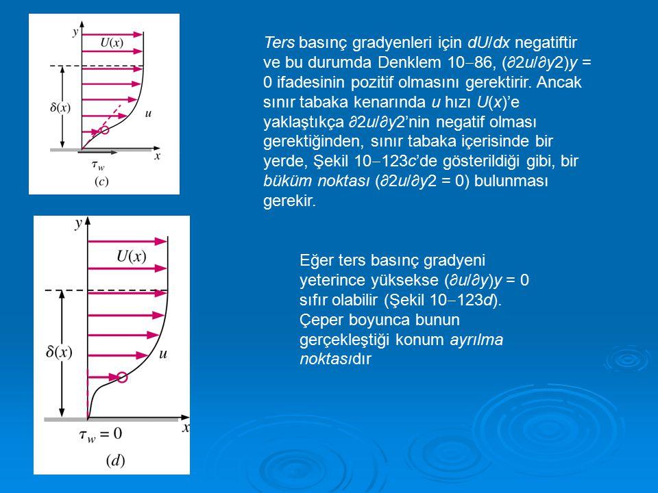 Ters basınç gradyenleri için dU/dx negatiftir ve bu durumda Denklem 1086, (∂2u/∂y2)y = 0 ifadesinin pozitif olmasını gerektirir. Ancak sınır tabaka kenarında u hızı U(x)'e yaklaştıkça ∂2u/∂y2'nin negatif olması gerektiğinden, sınır tabaka içerisinde bir yerde, Şekil 10123c'de gösterildiği gibi, bir büküm noktası (∂2u/∂y2 = 0) bulunması gerekir.