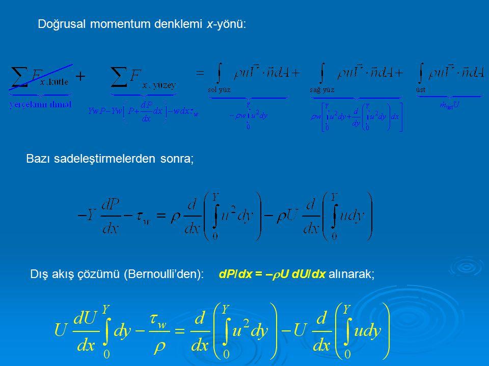 Doğrusal momentum denklemi x-yönü: