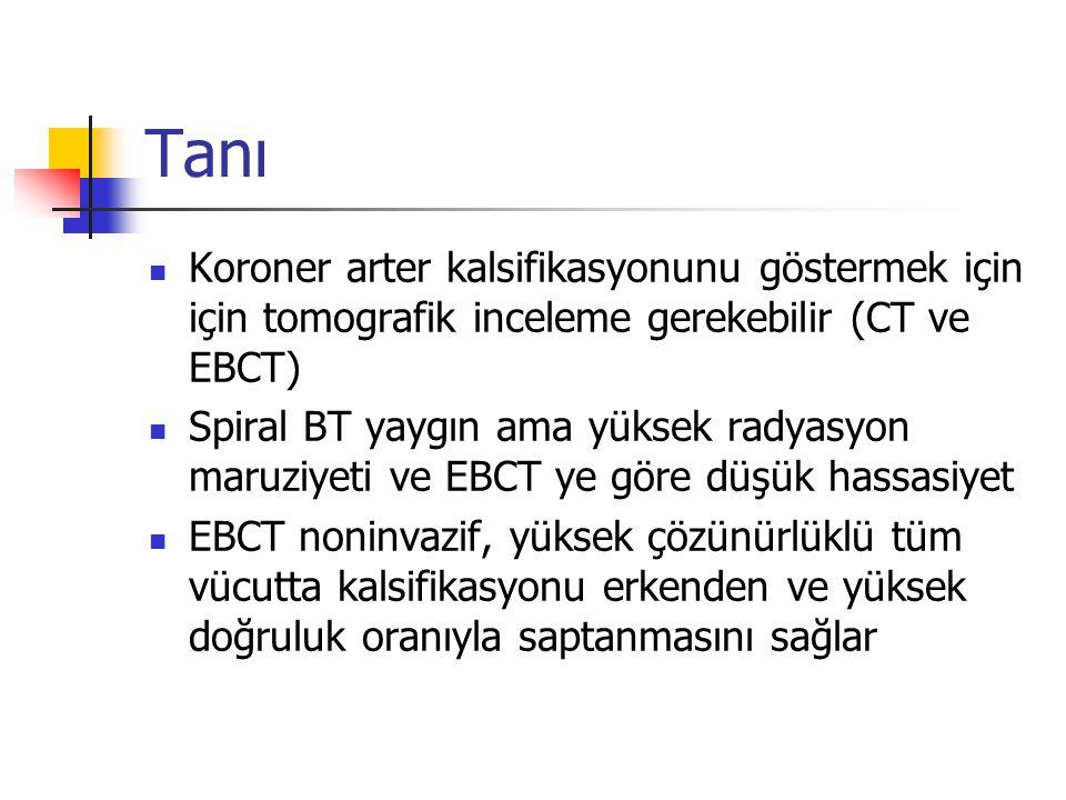 Tanı Koroner arter kalsifikasyonunu göstermek için için tomografik inceleme gerekebilir (CT ve EBCT)