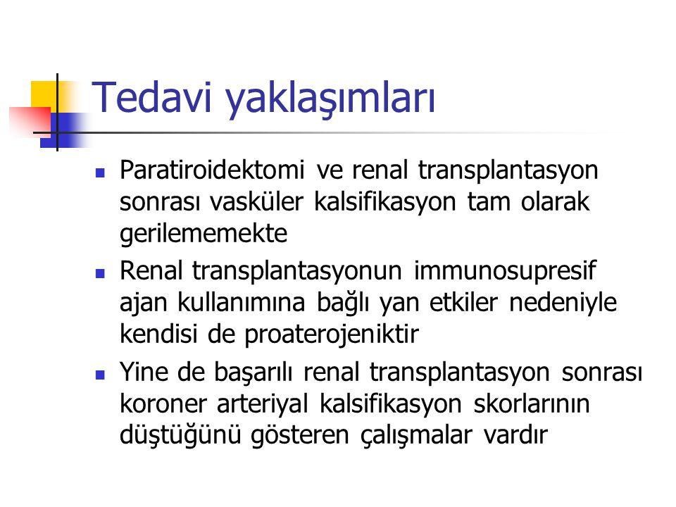 Tedavi yaklaşımları Paratiroidektomi ve renal transplantasyon sonrası vasküler kalsifikasyon tam olarak gerilememekte.