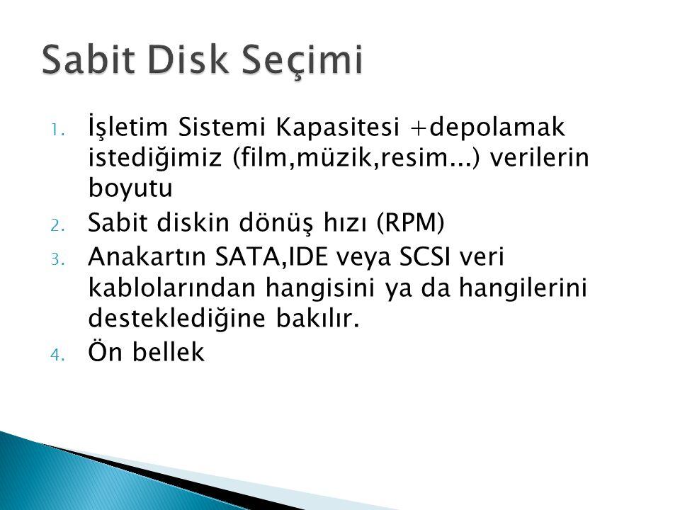 Sabit Disk Seçimi İşletim Sistemi Kapasitesi +depolamak istediğimiz (film,müzik,resim...) verilerin boyutu.