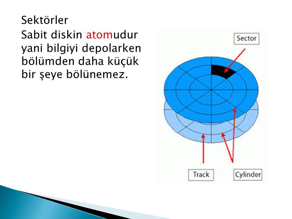 Sektörler Sabit diskin atomudur yani bilgiyi depolarken bölümden daha küçük bir şeye bölünemez.