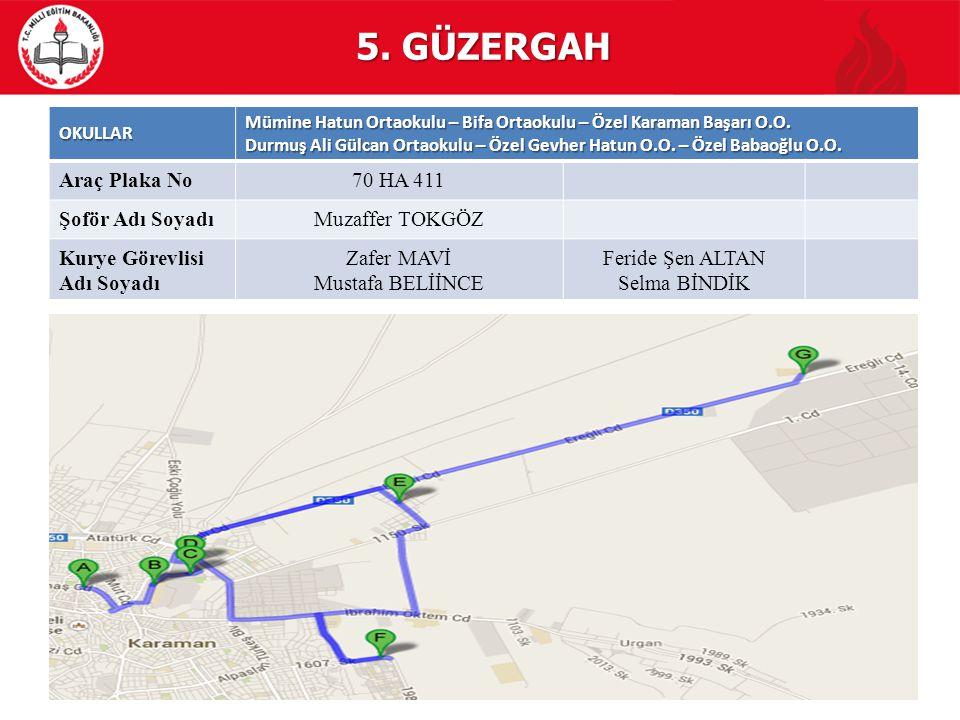 5. GÜZERGAH Araç Plaka No 70 HA 411 Şoför Adı Soyadı Muzaffer TOKGÖZ