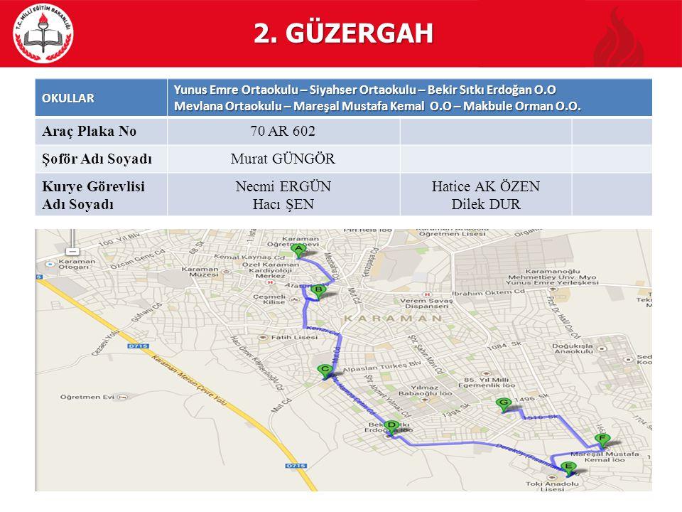 2. GÜZERGAH Araç Plaka No 70 AR 602 Şoför Adı Soyadı Murat GÜNGÖR