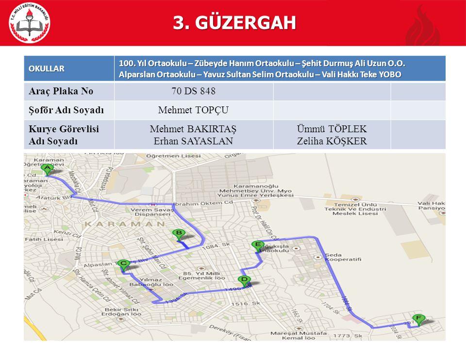 3. GÜZERGAH Araç Plaka No 70 DS 848 Şoför Adı Soyadı Mehmet TOPÇU