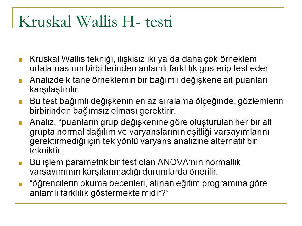 Kruskal Wallis H- testi