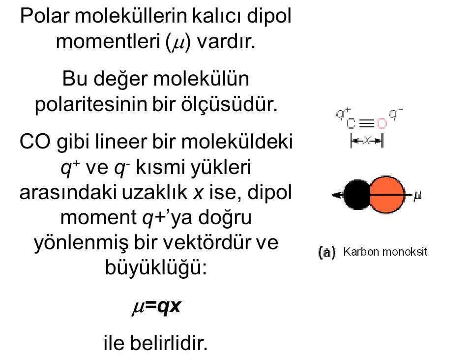 Polar moleküllerin kalıcı dipol momentleri () vardır.