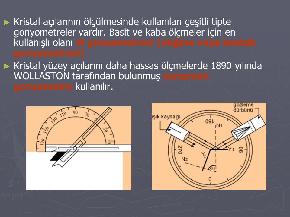 Kristal açılarının ölçülmesinde kullanılan çeşitli tipte gonyometreler vardır. Basit ve kaba ölçmeler için en kullanışlı olanı el gonyometresi (değme veya kontak gonyometresi)