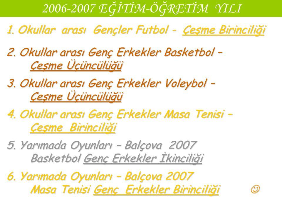2006-2007 EĞİTİM-ÖĞRETİM YILI 1. Okullar arası Gençler Futbol - Çeşme Birinciliği.