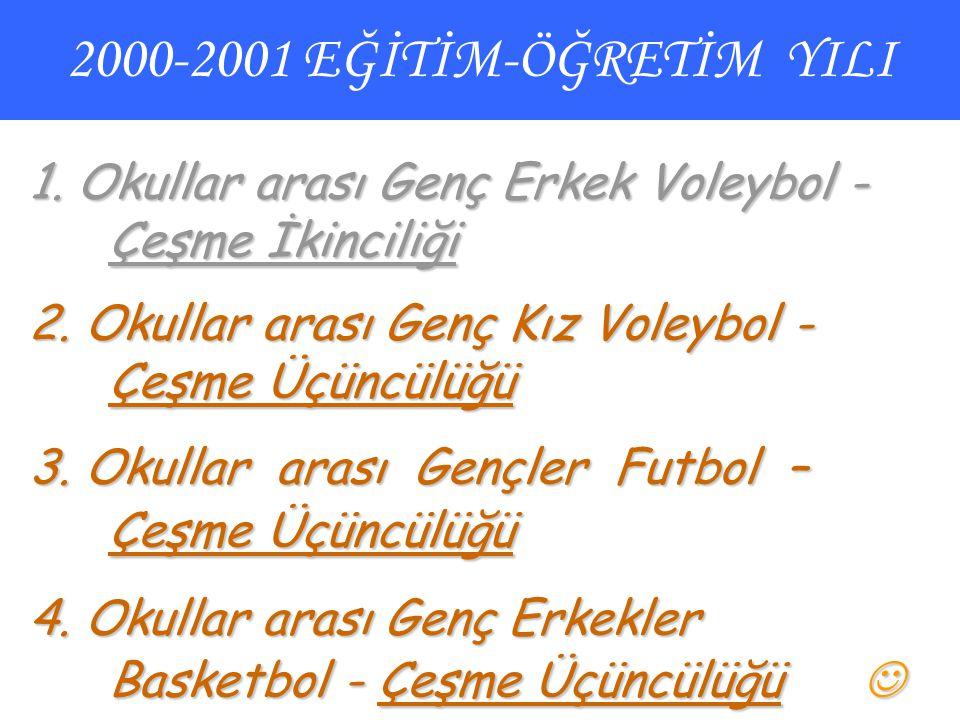 2000-2001 EĞİTİM-ÖĞRETİM YILI 1. Okullar arası Genç Erkek Voleybol - Çeşme İkinciliği. 2. Okullar arası Genç Kız Voleybol - Çeşme Üçüncülüğü.