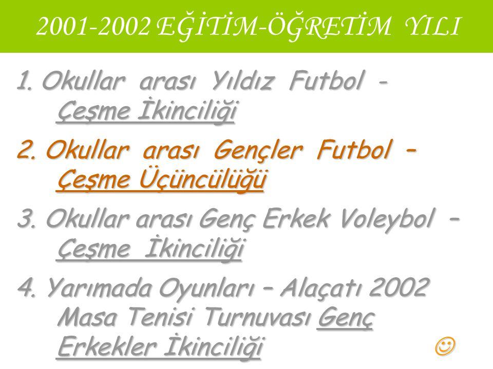 2001-2002 EĞİTİM-ÖĞRETİM YILI 1. Okullar arası Yıldız Futbol - Çeşme İkinciliği. 2. Okullar arası Gençler Futbol – Çeşme Üçüncülüğü.