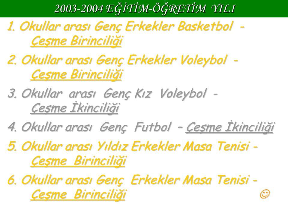 2003-2004 EĞİTİM-ÖĞRETİM YILI 1. Okullar arası Genç Erkekler Basketbol - Çeşme Birinciliği.