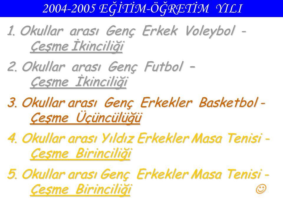 2004-2005 EĞİTİM-ÖĞRETİM YILI 1. Okullar arası Genç Erkek Voleybol - Çeşme İkinciliği.