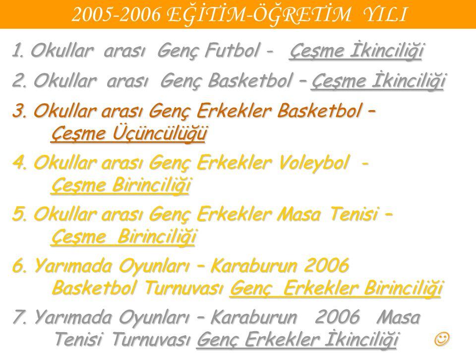 2005-2006 EĞİTİM-ÖĞRETİM YILI 1. Okullar arası Genç Futbol - Çeşme İkinciliği. 2. Okullar arası Genç Basketbol – Çeşme İkinciliği.