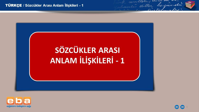 SÖZCÜKLER ARASI ANLAM İLİŞKİLERİ - 1