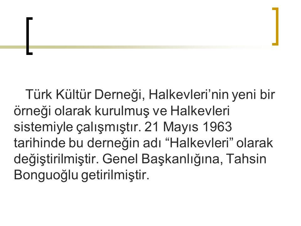 Türk Kültür Derneği, Halkevleri'nin yeni bir örneği olarak kurulmuş ve Halkevleri sistemiyle çalışmıştır.