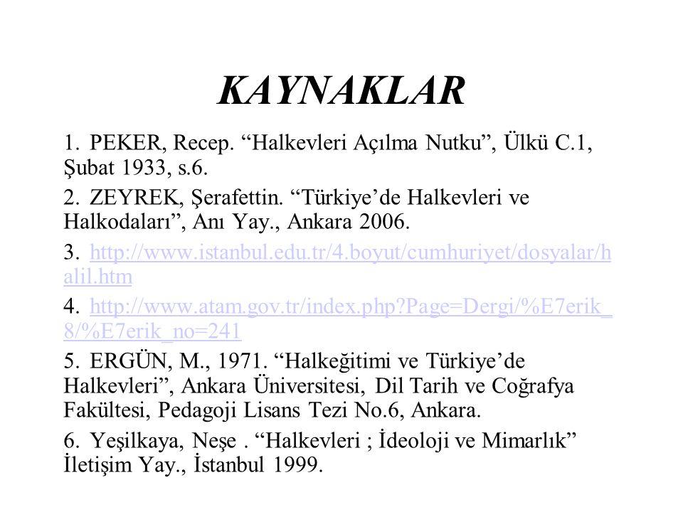 KAYNAKLAR PEKER, Recep. Halkevleri Açılma Nutku , Ülkü C.1, Şubat 1933, s.6.