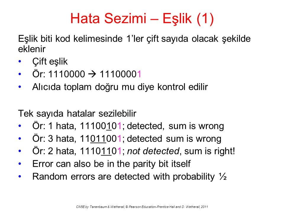 Hata Sezimi – Eşlik (1) Eşlik biti kod kelimesinde 1'ler çift sayıda olacak şekilde eklenir. Çift eşlik.