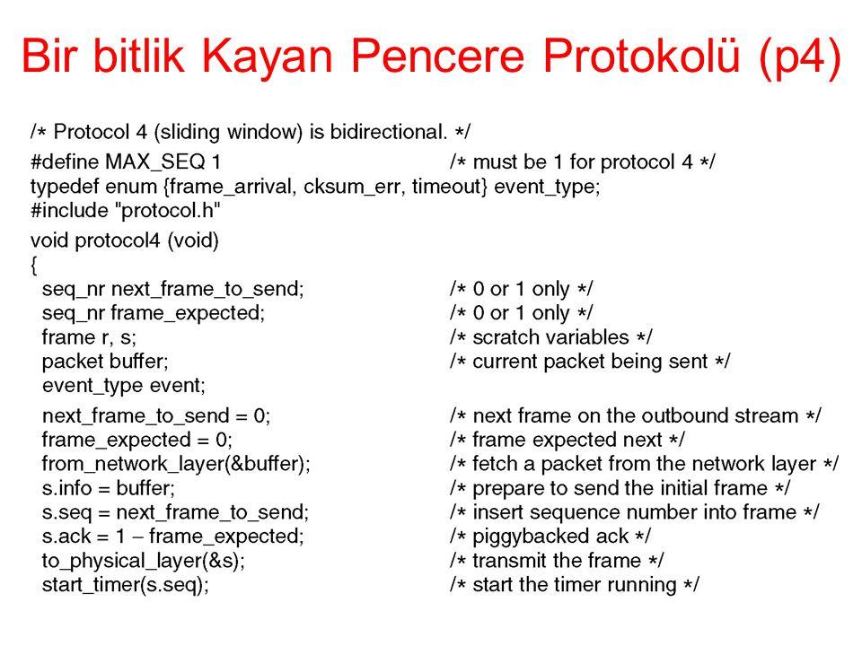 Bir bitlik Kayan Pencere Protokolü (p4)