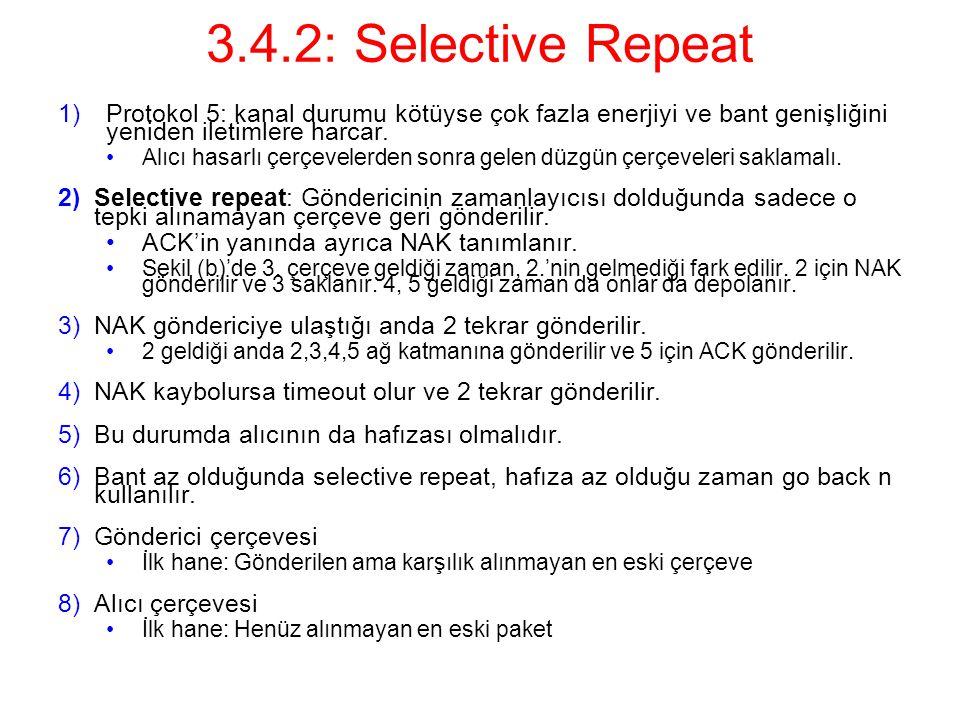 3.4.2: Selective Repeat Protokol 5: kanal durumu kötüyse çok fazla enerjiyi ve bant genişliğini yeniden iletimlere harcar.