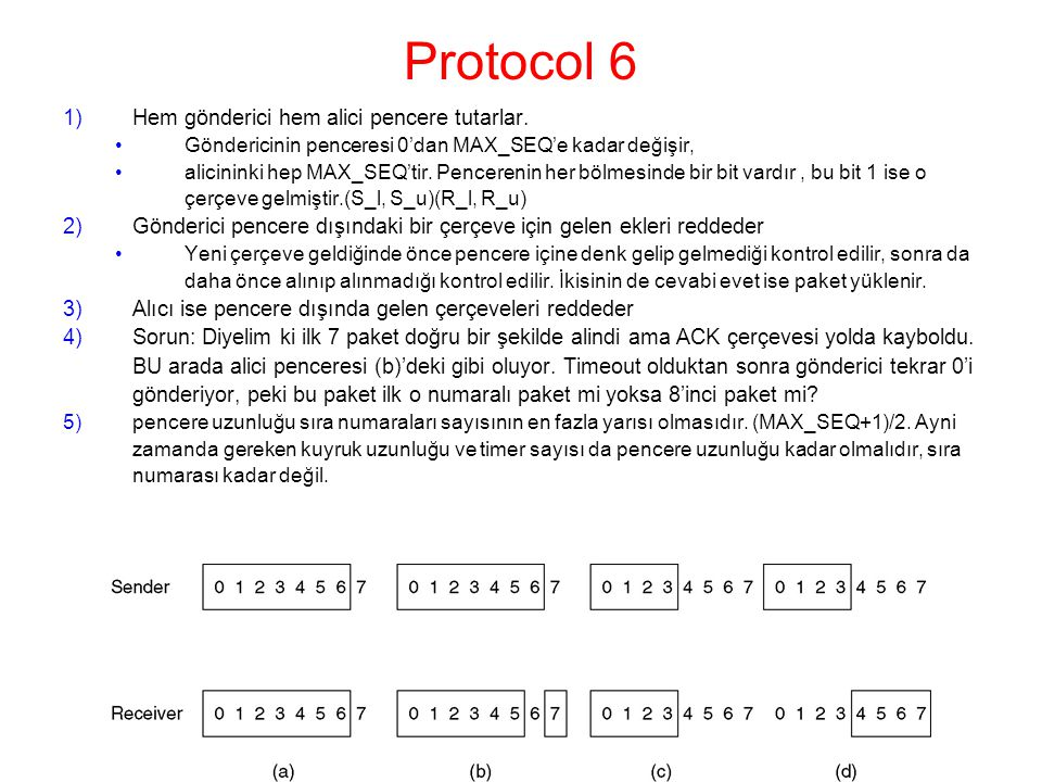 Protocol 6 Hem gönderici hem alici pencere tutarlar.