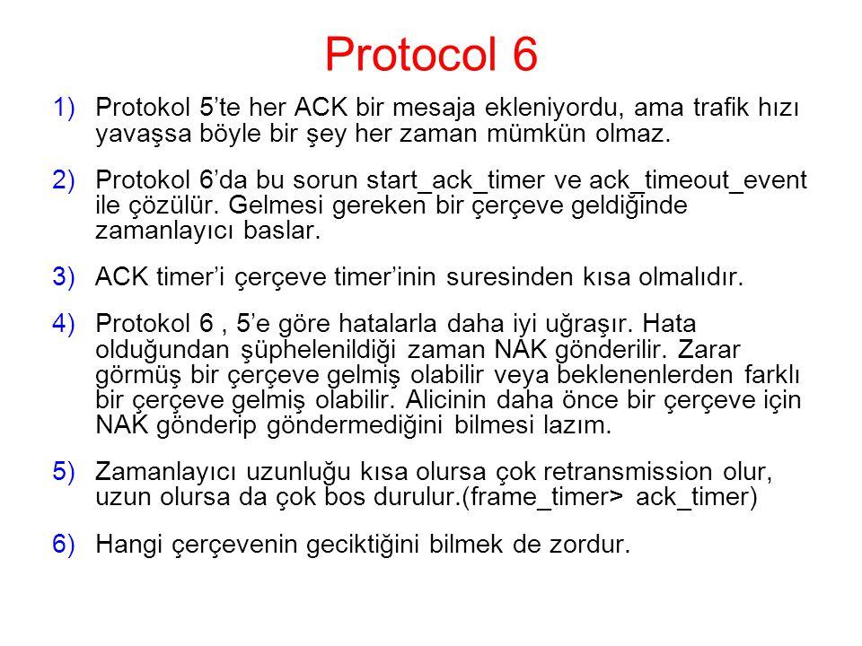 Protocol 6 Protokol 5'te her ACK bir mesaja ekleniyordu, ama trafik hızı yavaşsa böyle bir şey her zaman mümkün olmaz.