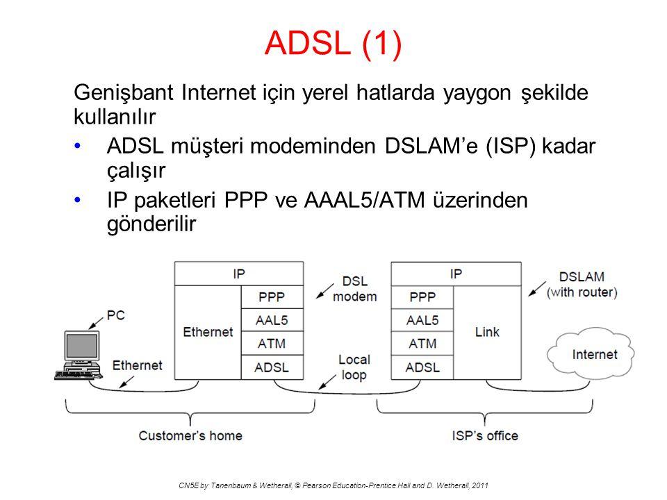 ADSL (1) Genişbant Internet için yerel hatlarda yaygon şekilde kullanılır. ADSL müşteri modeminden DSLAM'e (ISP) kadar çalışır.