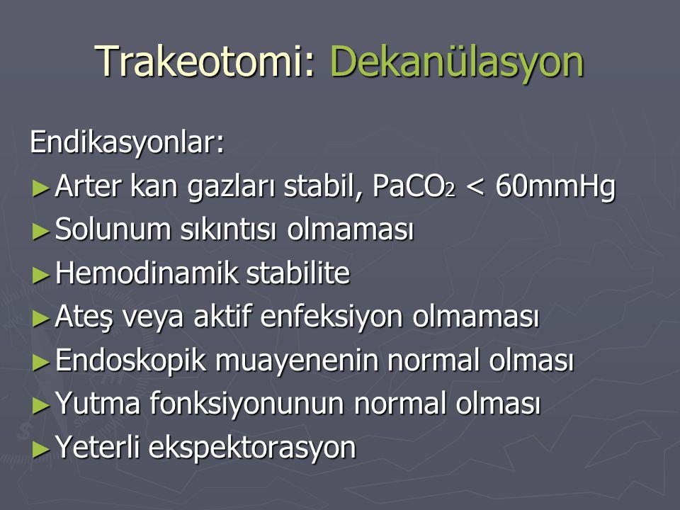Trakeotomi: Dekanülasyon
