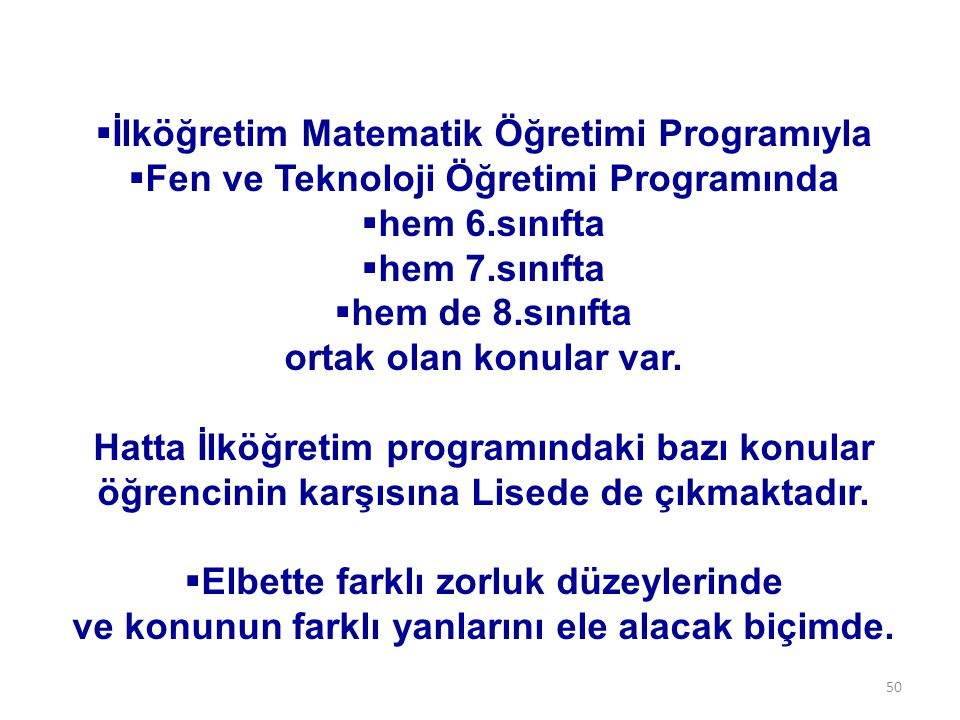 İlköğretim Matematik Öğretimi Programıyla
