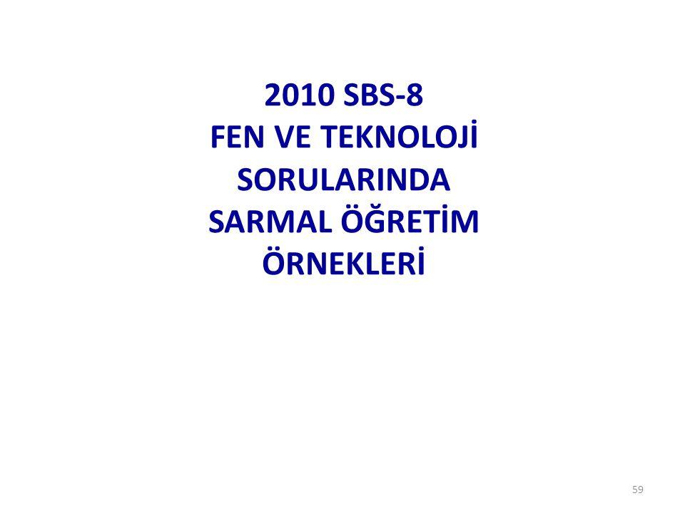 2010 SBS-8 FEN VE TEKNOLOJİ SORULARINDA SARMAL ÖĞRETİM ÖRNEKLERİ