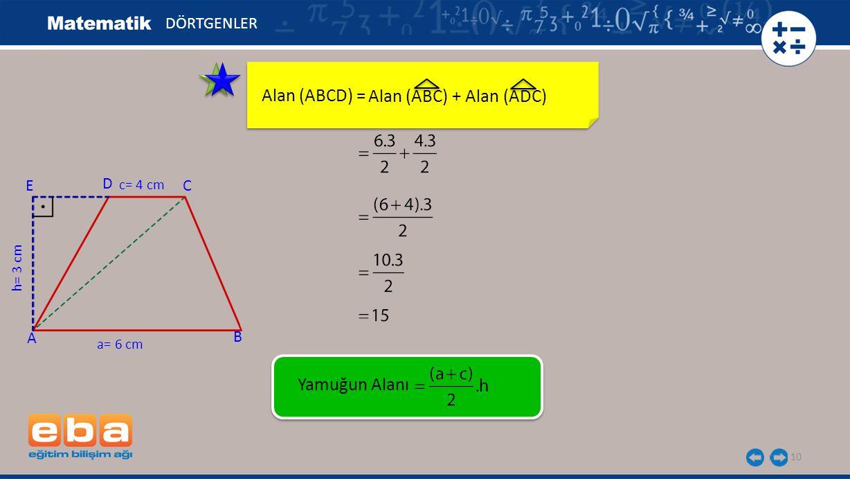 Alan (ABCD) = Alan (ABC) + Alan (ADC) Yamuğun Alanı DÖRTGENLER E D C A