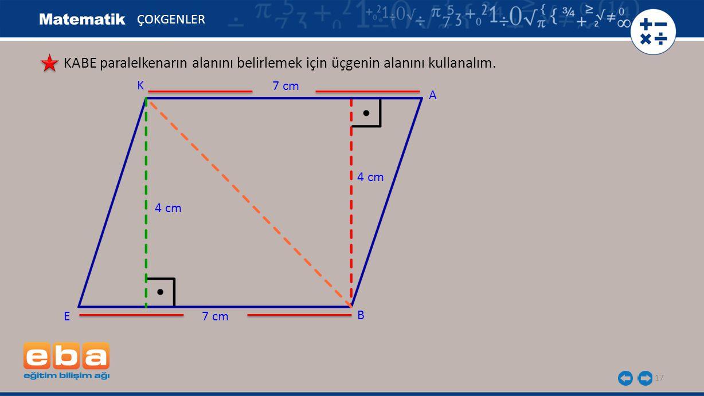 ÇOKGENLER KABE paralelkenarın alanını belirlemek için üçgenin alanını kullanalım. K. 7 cm. A. 4 cm.