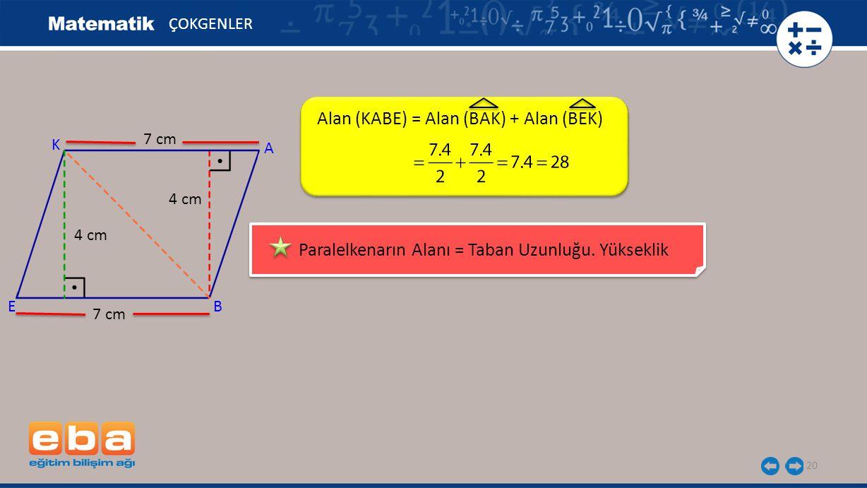 Alan (KABE) = Alan (BAK) + Alan (BEK)