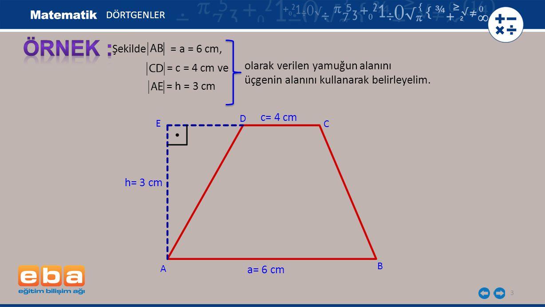ÖRNEK : Şekilde = a = 6 cm, olarak verilen yamuğun alanını