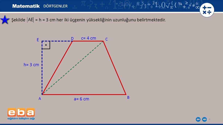 DÖRTGENLER Şekilde = h = 3 cm her iki üçgenin yüksekliğinin uzunluğunu belirtmektedir. E. D.