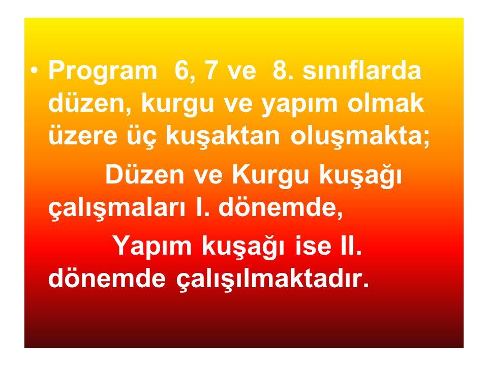 Program 6, 7 ve 8. sınıflarda düzen, kurgu ve yapım olmak üzere üç kuşaktan oluşmakta;