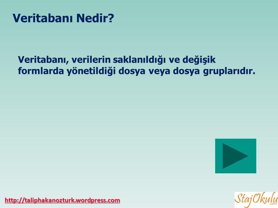 Veritabanı Nedir Veritabanı, verilerin saklanıldığı ve değişik formlarda yönetildiği dosya veya dosya gruplarıdır.